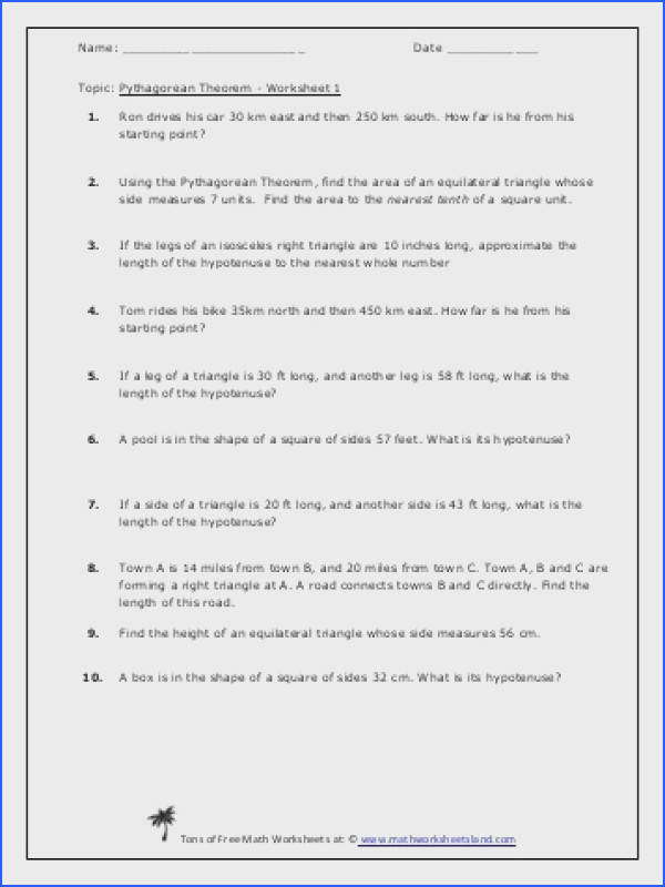 Pythagorean Theorem Word Problems Worksheet With Answers s