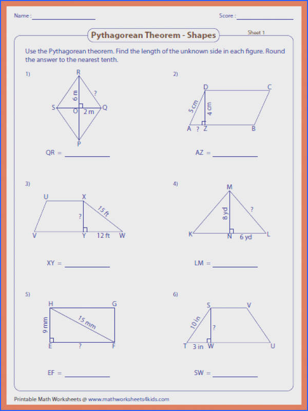 the pythagorean theorem worksheet missing length shapes large the