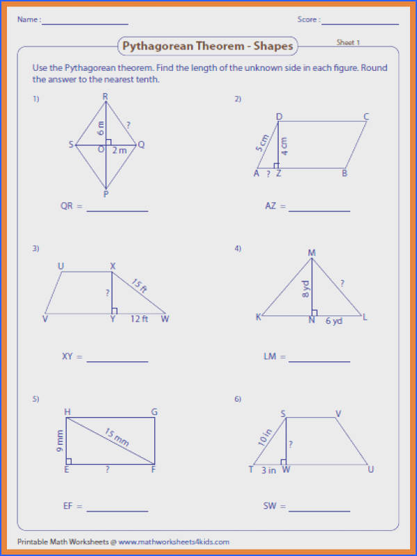 pythagorean theorem worksheet