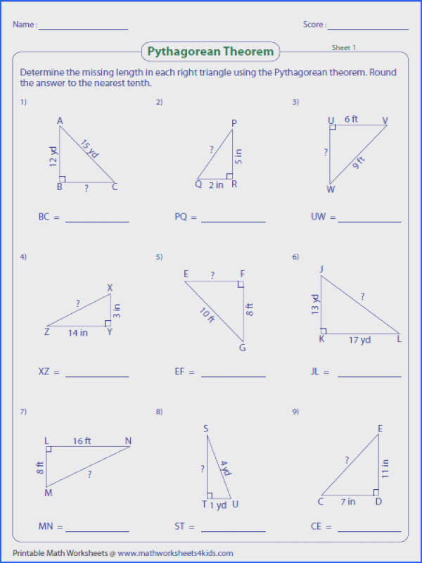 Finding missing length Triangles
