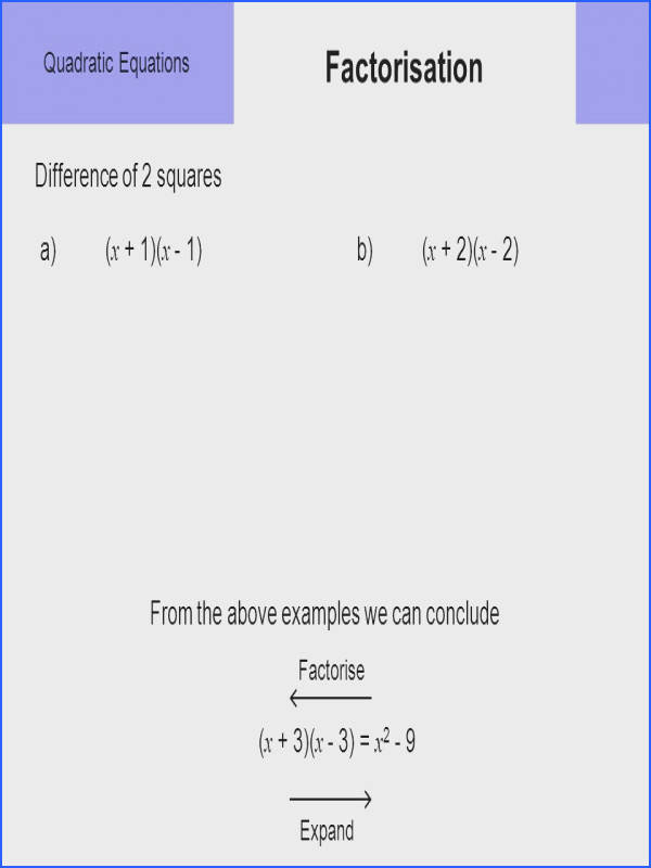 3 Quadratic Equations Factorisation Difference of 2 squares a x 1 x 1 b x 2 x 2 From the above examples we can conclude x 3 x 3