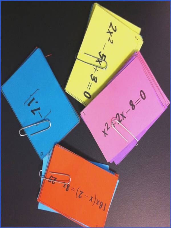 Quadratic Equations Matching Cards Includes pleting the Square Solving by Factoring Quadratic