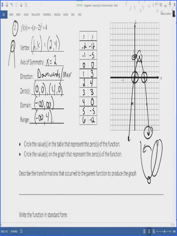 quadratic functions worksheet for assignment graphing quadratics in vertex form 4 1 worksheet standard amazing graphing