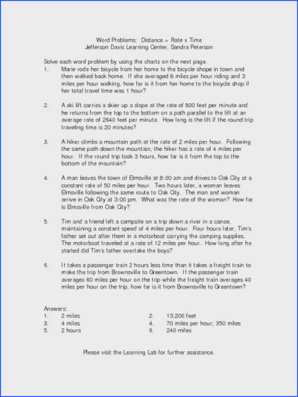 Distance Rate Time Word Problems Worksheet