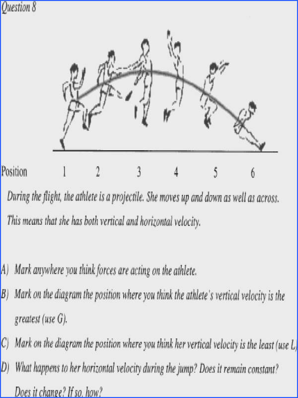 Question relevant to the projectile motion segment from the evaluation quiz—adapted from the student