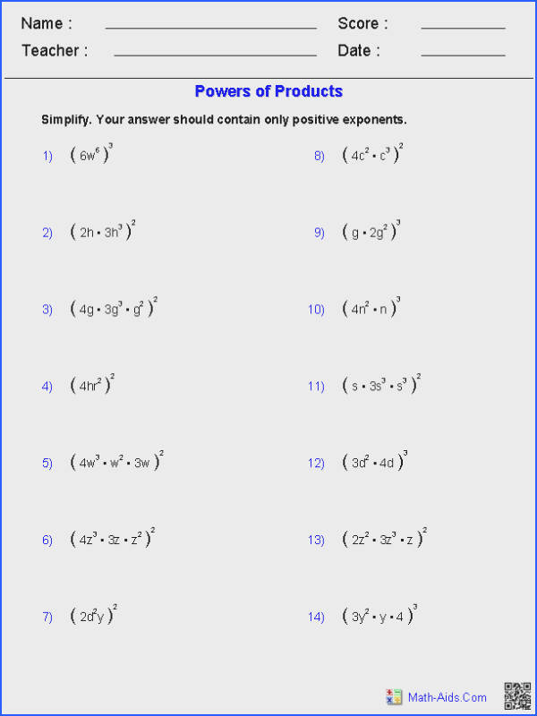 Raising Exponents To A Power Worksheet