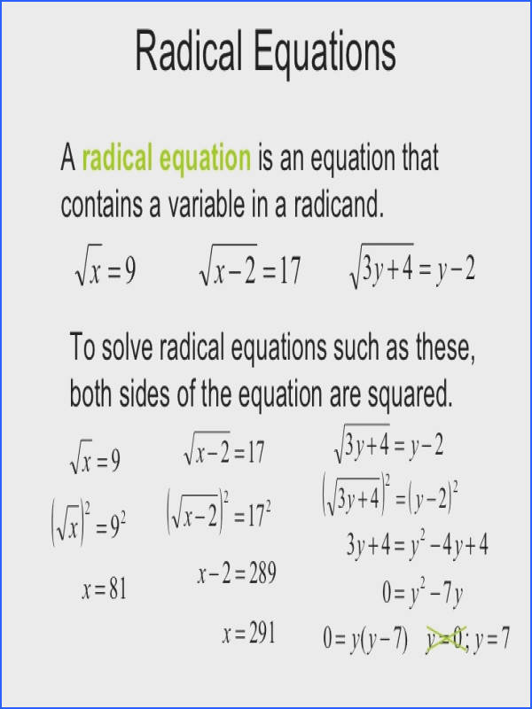 Radicals And Rational Exponents Simplifying Radical Expressions
