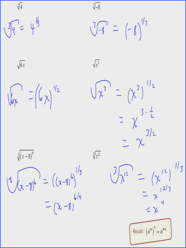 Rational Exponents 5 Rational Exponent Equations Worksheet