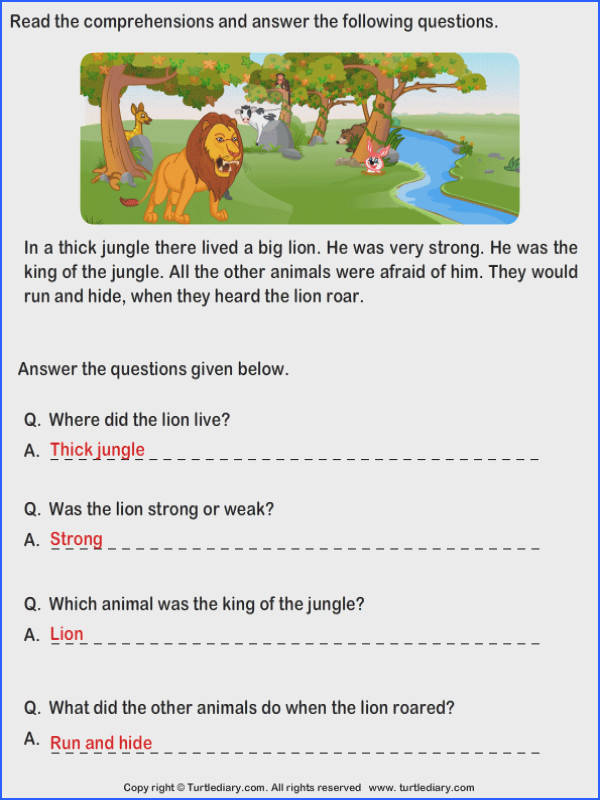 Read prehension Tiger and Magician and Answer the Questions Worksheet