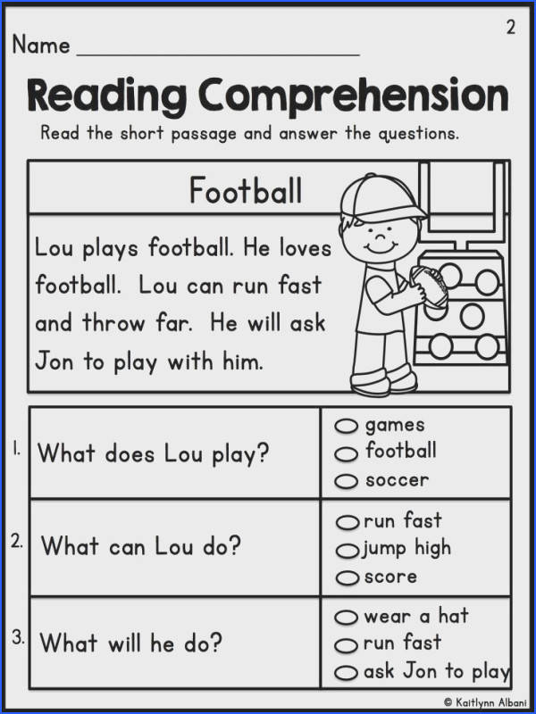 Reading prehension Worksheets For First Grade Students 1