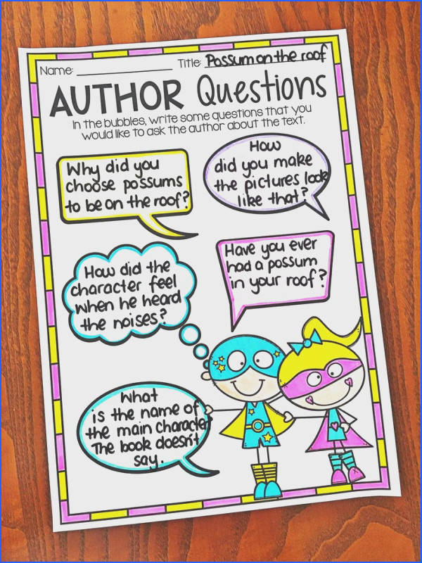 Reading Response Worksheet Questioning the Author Worksheets cover story elements text connections