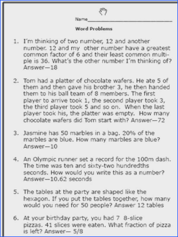Here Are Some Math Word Problems Perfect for 6th Graders Worksheet 2 Solution