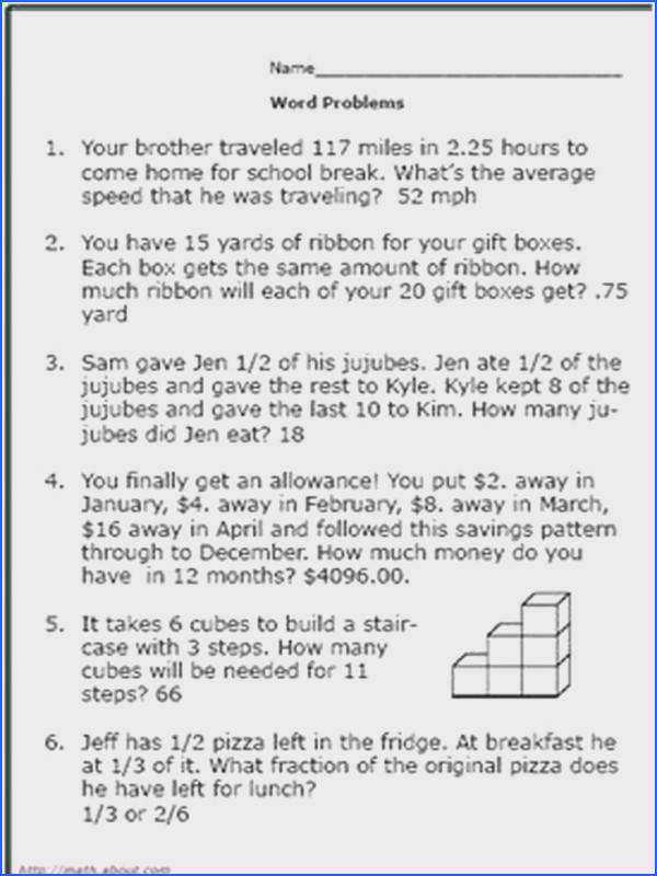 What Are Some Word Problems to Give to 6th Grade Math Students Worksheet No