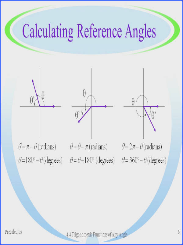 Reference Angle WorksheetUnit Circle Worksheet With Answers Find Angle Based End