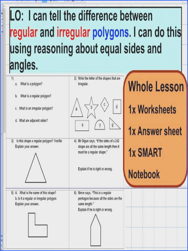 LO I can tell the difference between regular and irregular polygons I can do this using reasoning about equal sides and angles This resource is suitable