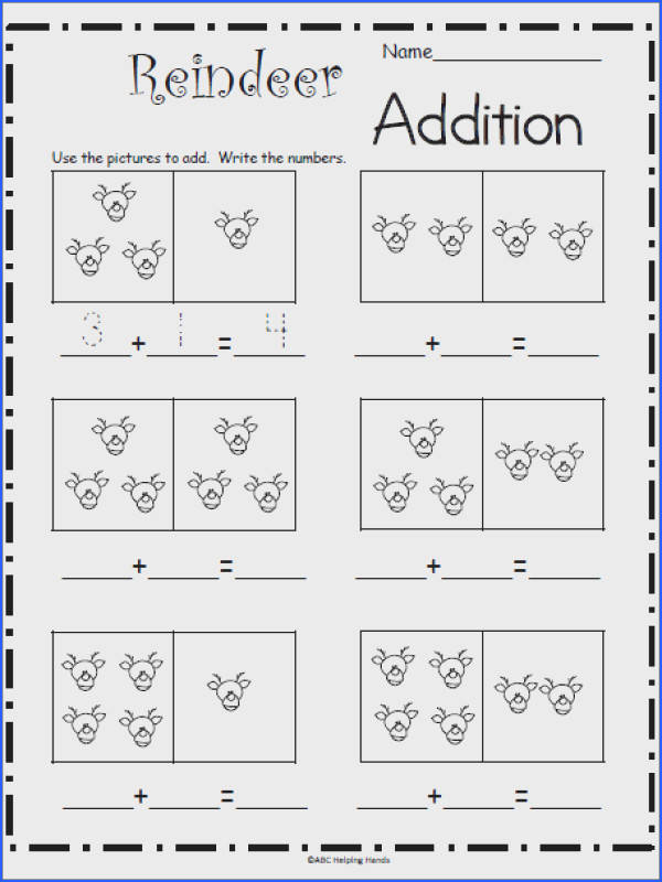 Free Reindeer Math Worksheet for Kindergarten – Great for December and Christmas Students use the pictures to plete the addition math sentence