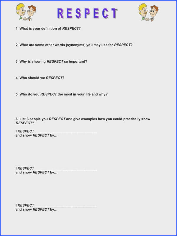 Respect Character Lesson Plan Free Able 52 total Image Below Respect Worksheets