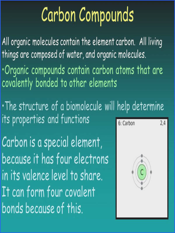 Carbon pounds All organic molecules contain the element carbon All living things are posed of