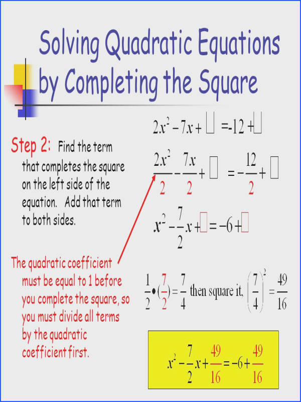 Solving Quadratic Equations by pleting the Square ppt