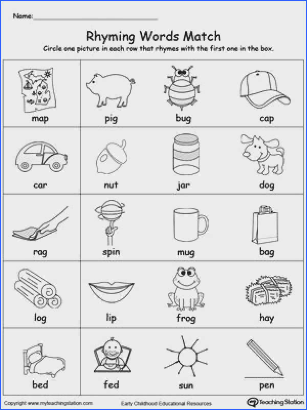 FREE Rhyming Words Match Worksheet Help your child identify words that