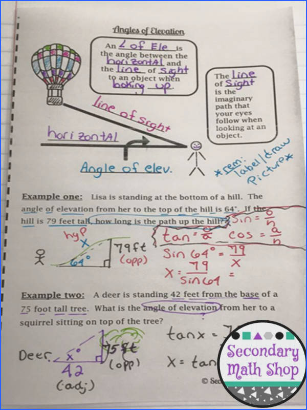 Right Triangle Angles of Elevation & Depression Interactive Notebook Pages