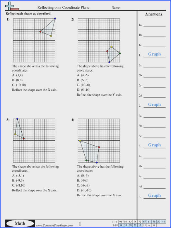 Reflecting on a Coordinate Plane worksheet