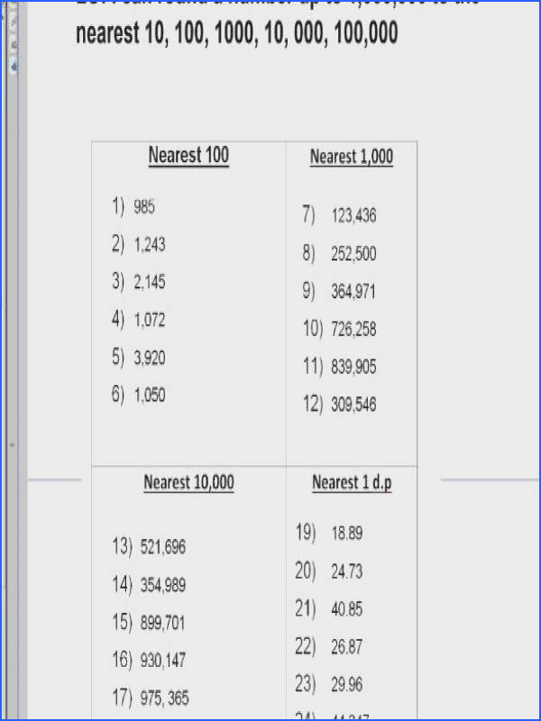 Rounding to the Nearest 10 100 1000 Year 5 & 6 Image Below Rounding Numbers Worksheets