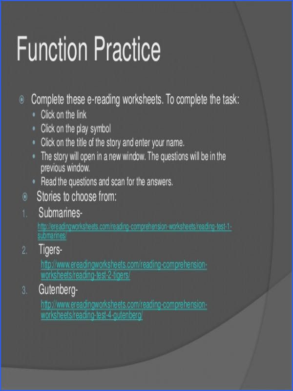 28 Function Practice  plete these e reading worksheets