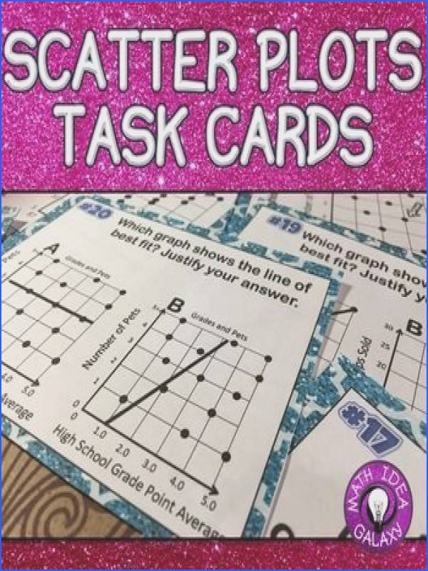 Scatter Plot and Line of Best Fit Task Cards is an engaging activity for students to