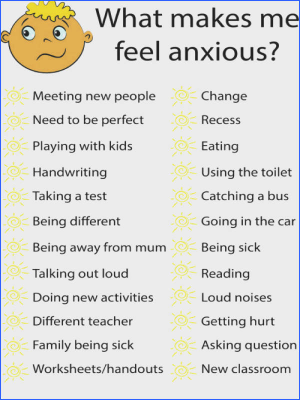 School anxiety school refusal anxiety management worksheet to help student understand what makes them