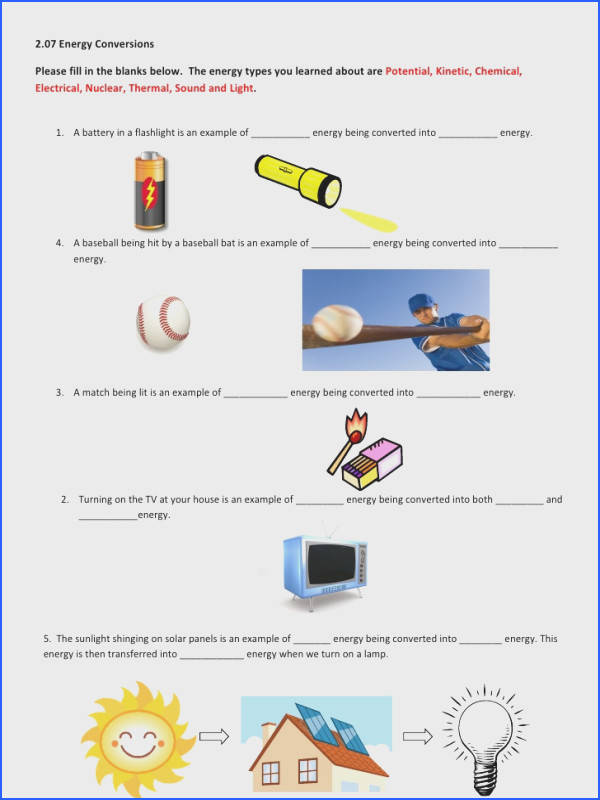 Science Energy Worksheets Worksheets for all Download and Worksheets