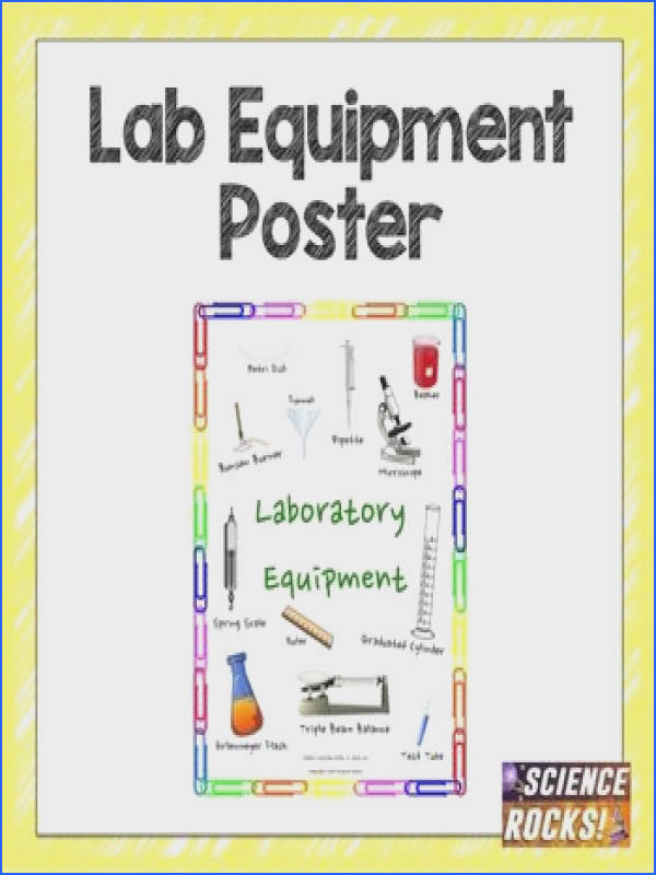 This poster shows students the names of science lab equipment It is available as a