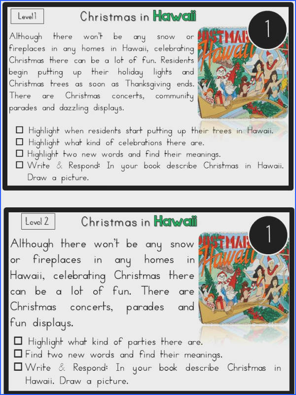 Mesmerizing Second Grade Nonfiction Passages About Reading Prehension Passages Christmas Around The World Sea