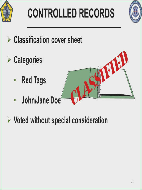 CONTROLLED RECORDS Classification cover sheet Categories Red Tags