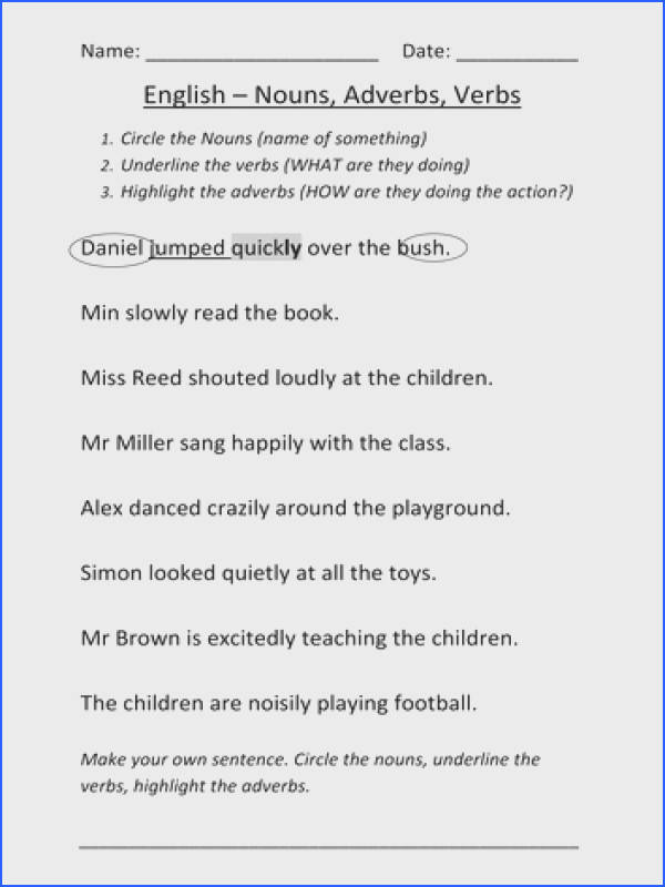 Pleasing Sentences With Nouns And Adjectives Worksheets In Worksheet Nouns Verbs And Adverbs By Mignonmiller