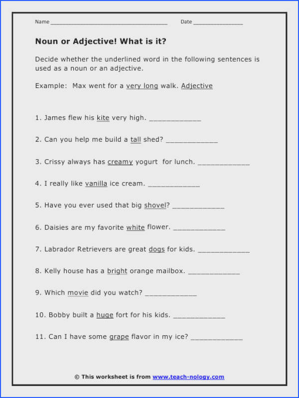 Agreeable Sentences With Nouns And Adjectives Worksheets In Noun Adjective Worksheets of Sentences with Nouns