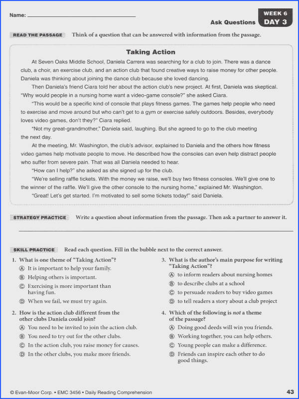 Formidable Seventh Grade Reading prehension Practice Test In Daily Reading Prehension Grade 6 Details Rainbow