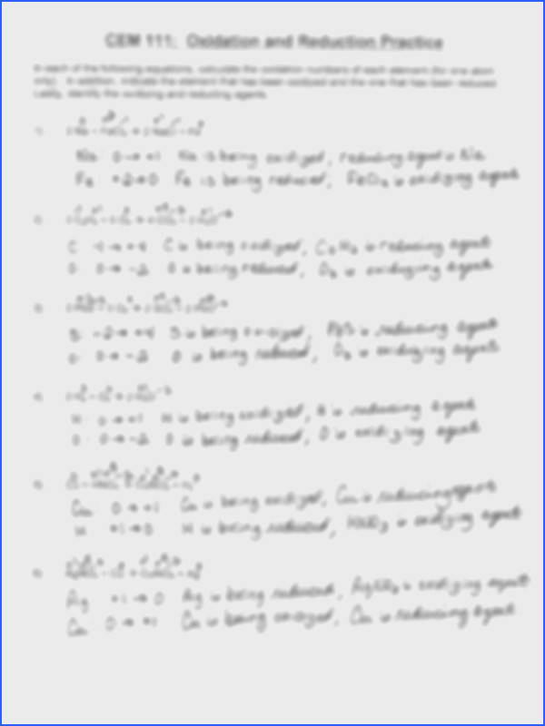 1 pages Oxidation Reduction Practice Problems