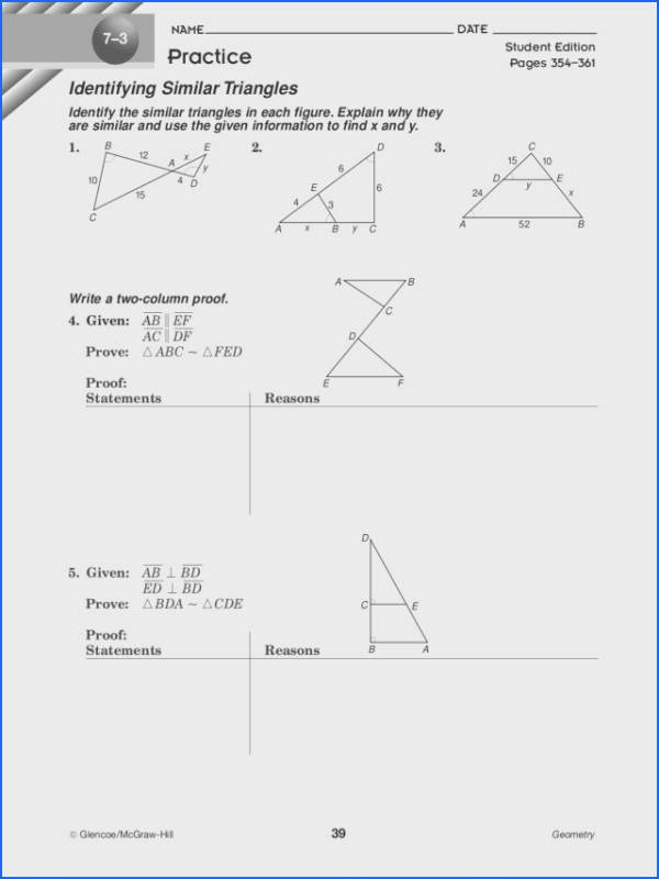 Identifying Similar Triangles Worksheet for 10th Grade