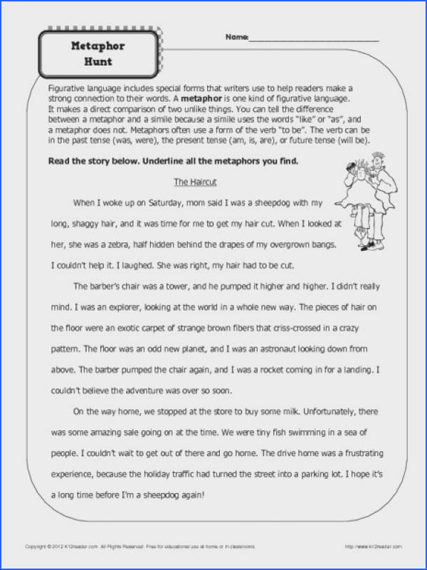 Simile And Metaphor Worksheets 4Th Grade