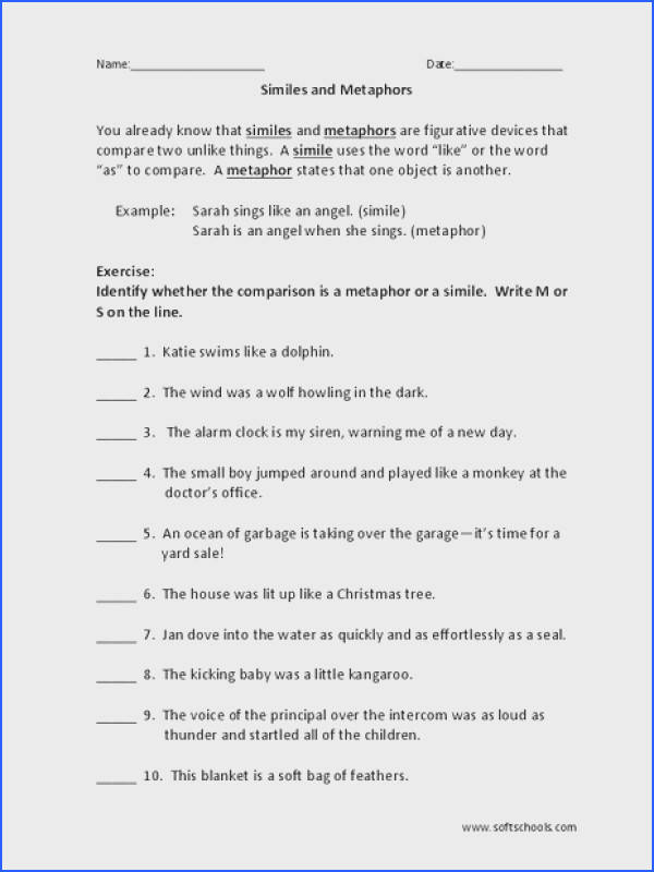 Simile And Metaphor Worksheets 4Th Grade Worksheets for all Download and Worksheets