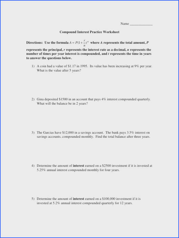 Simple and Pound Interest Worksheet & Simple Interest formula Image Below Compound Interest Worksheet