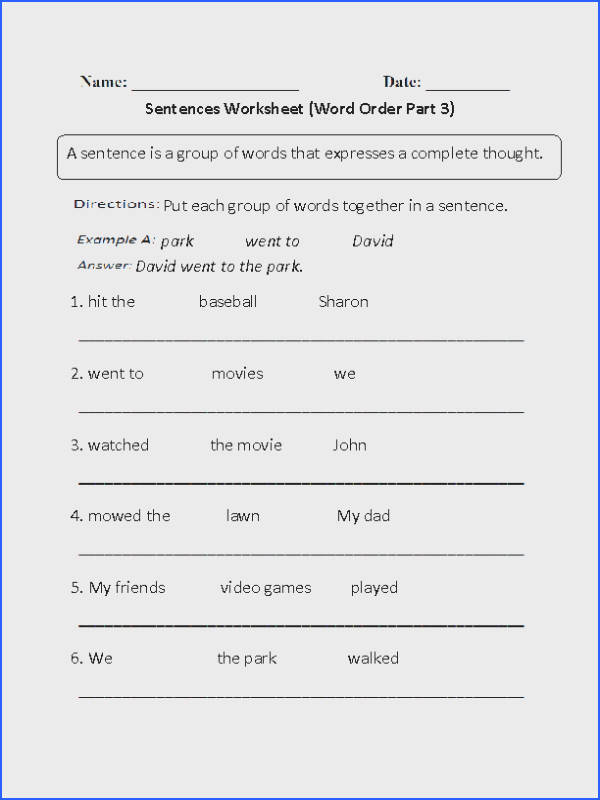 Simple Sentences Worksheet Part 3