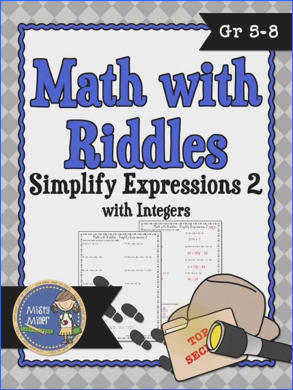 School · Simplify Expressions 2 Math with Riddles involves students bining like terms
