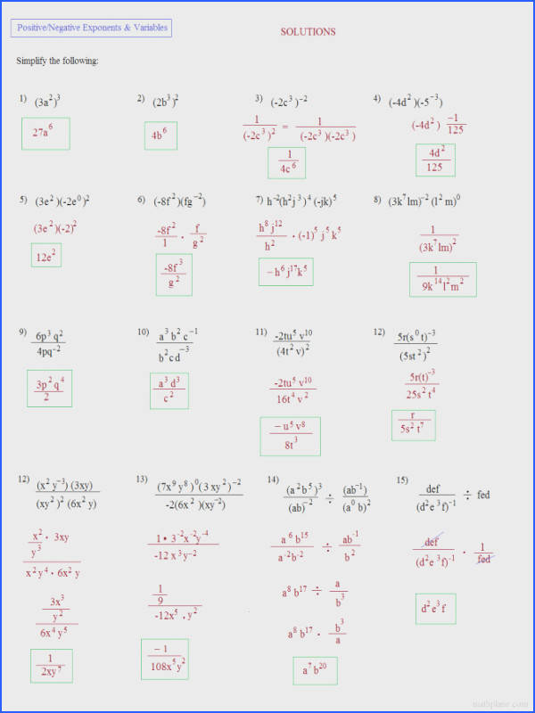 Math Plane Simplifying Negative Exponents And Variables Worksheets Fractional Simplifying Exponents And Variables Quiz Solu Math