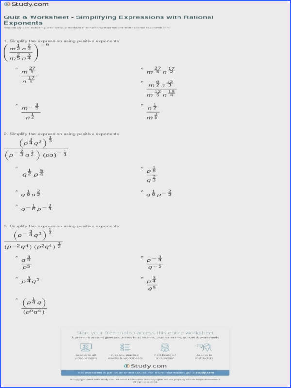 Quiz & Worksheet – Simplifying Expressions With Rational Exponents