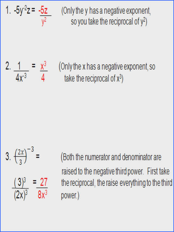 Math Plane Simplifying Negative Exponents and Variables Simplifying Negative Exponents Worksheet