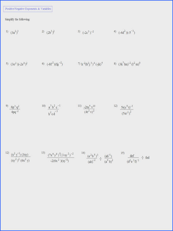 Math Plane Simplifying Negative Exponents And Variables Multiplication Properties Worksheet 7 3 Simplifying Exponents And
