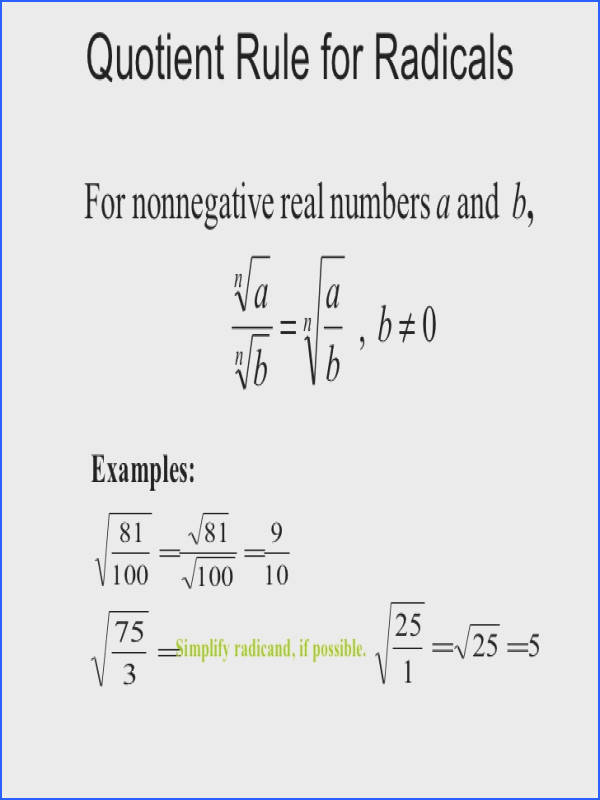simplifying radical expressions without variables