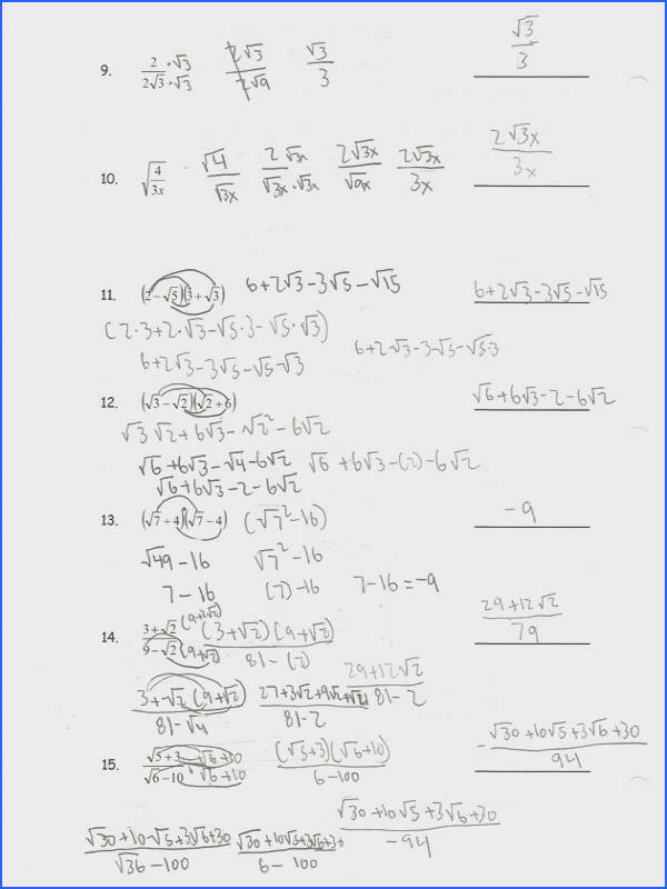 Simplifying Radical Expressions Worksheet With Answers Worksheets for all Download and Worksheets